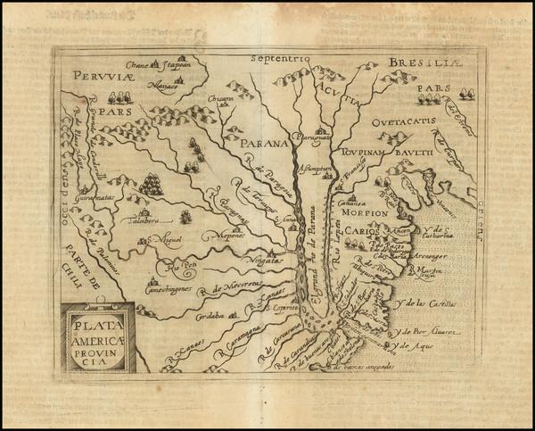 32-Argentina, Brazil, Paraguay & Bolivia and Uruguay Map By Cornelis van Wytfliet