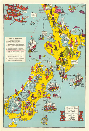 56-New Zealand and Pictorial Maps Map By Alan Stuart Paterson