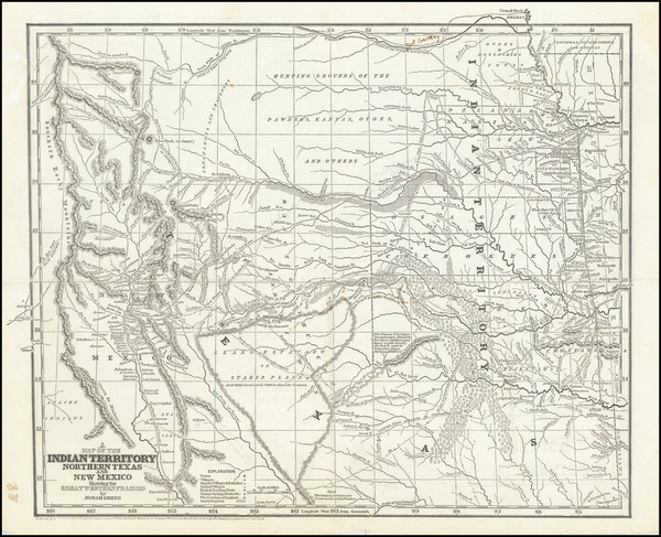64-Texas, Plains, Southwest and Rocky Mountains Map By Josiah Gregg