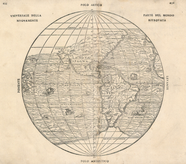 58-World, Western Hemisphere, Polar Maps, South America and America Map By Giovanni Battista Ramus