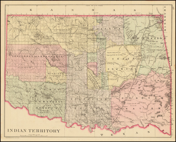 80-Oklahoma & Indian Territory, Colorado and Colorado Map By Samuel Augustus Mitchell Jr.