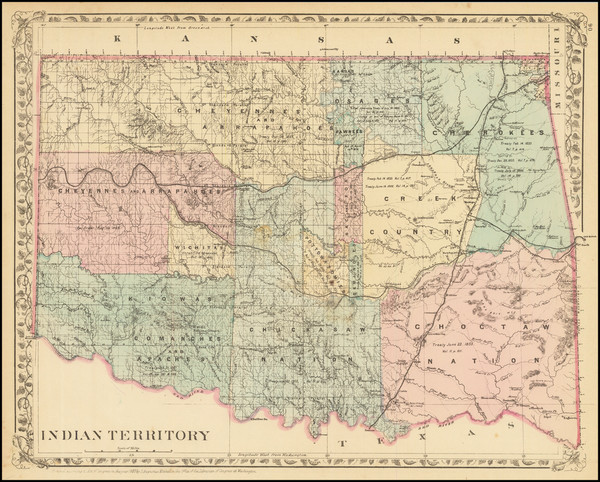 46-Oklahoma & Indian Territory, Colorado and Colorado Map By Samuel Augustus Mitchell Jr.