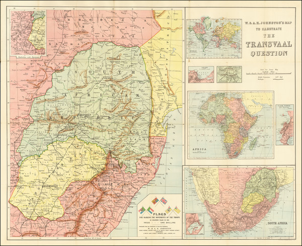 90-South Africa Map By W. & A.K. Johnston