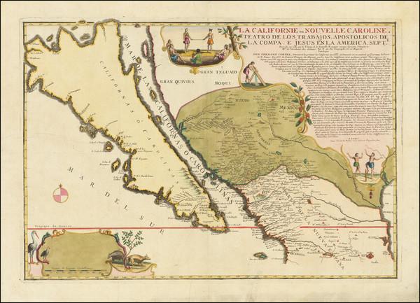 67-Southwest, Mexico, Baja California, California and California as an Island Map By Nicolas de Fe