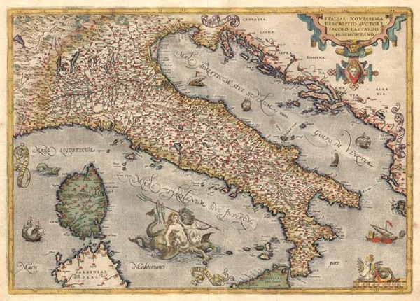 45-Europe, Italy, Mediterranean and Balearic Islands Map By Abraham Ortelius
