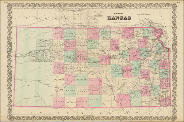 59-Plains and Kansas Map By G.W.  & C.B. Colton