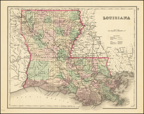 96-Louisiana Map By Joseph Hutchins Colton