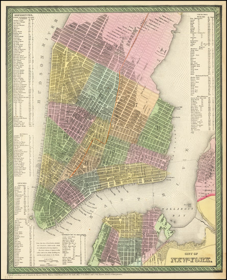 31-New York City Map By Thomas, Cowperthwait & Co.