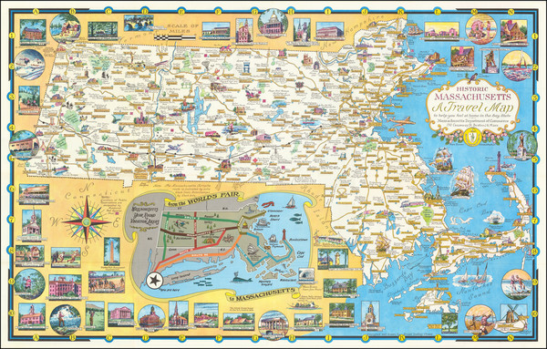 14-Massachusetts and Pictorial Maps Map By Ernest Dudley Chase