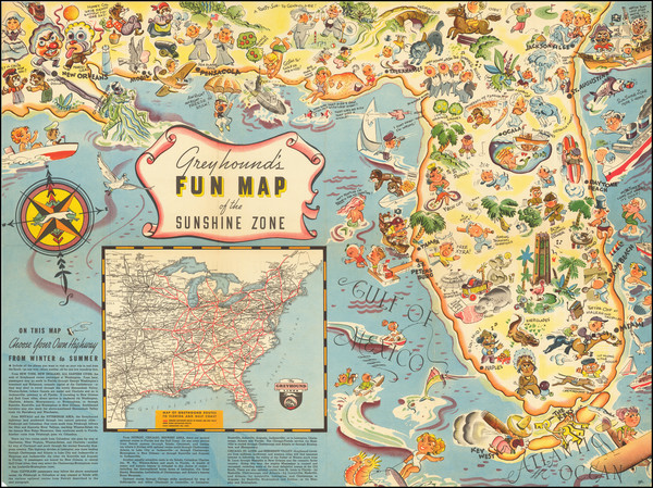 19-Florida and Pictorial Maps Map By P. Hamlin