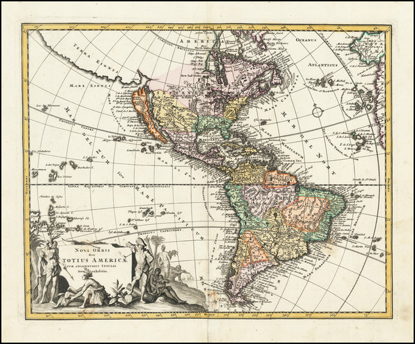 5-Western Hemisphere, California as an Island and America Map By Johann Christoph Weigel