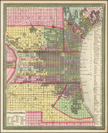 3-Philadelphia Map By Thomas, Cowperthwait & Co.