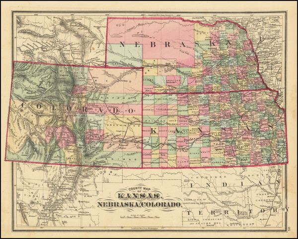 3-Kansas, Nebraska, Colorado and Colorado Map By Everts