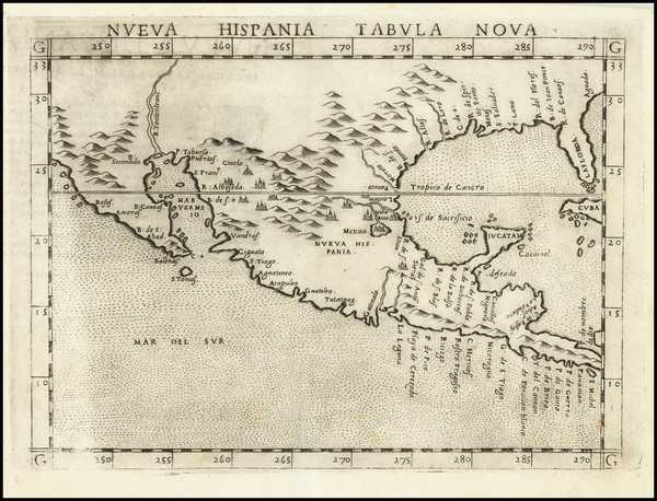 89-South, Southeast, Texas, Southwest and Mexico Map By Girolamo Ruscelli