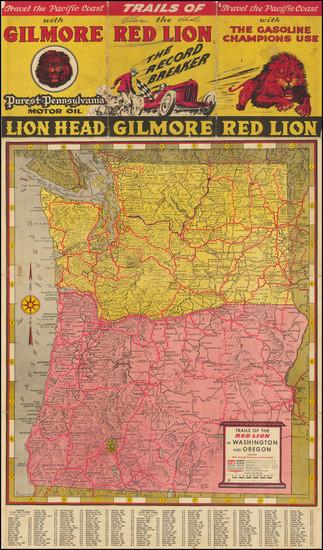 13-Oregon, Washington, Pictorial Maps and California Map By Gerald  Allen Eddy