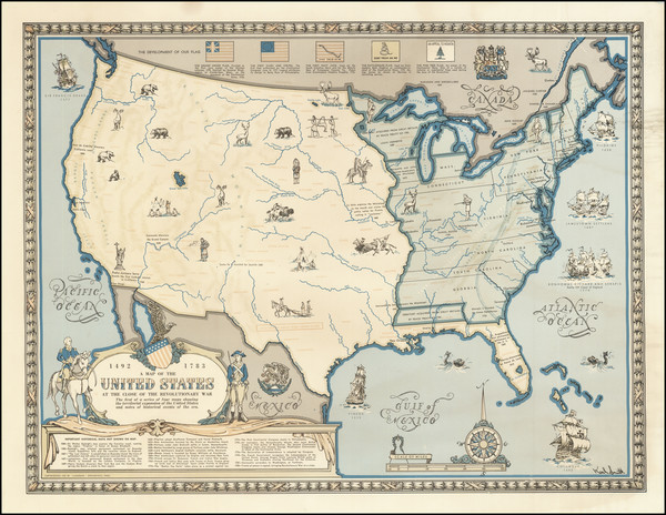 64-United States, Pictorial Maps and American Revolution Map By Karl Smith