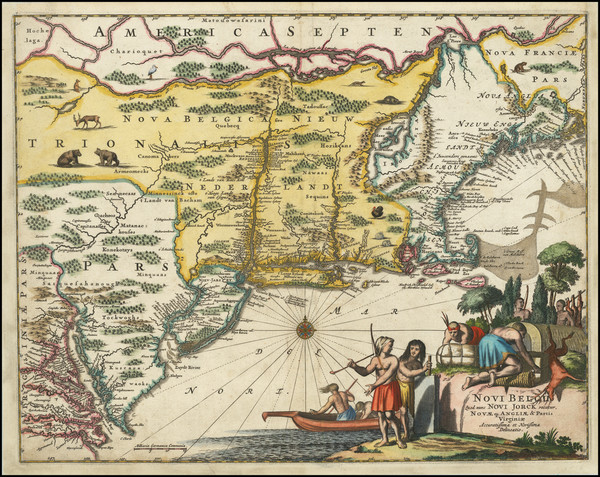 21-New England, New York State and Mid-Atlantic Map By John Ogilby