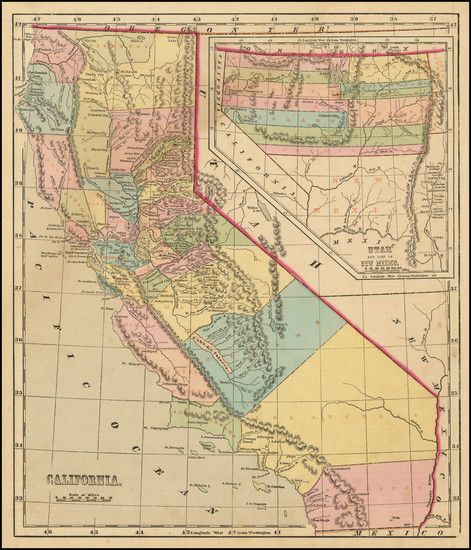 67-Southwest, Rocky Mountains and California Map By Charles Morse