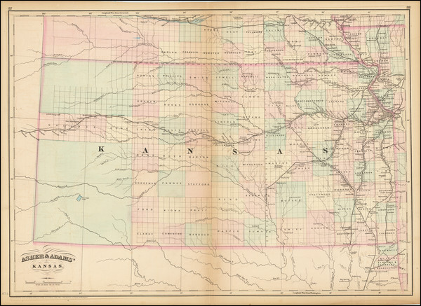 46-Kansas Map By Asher  &  Adams