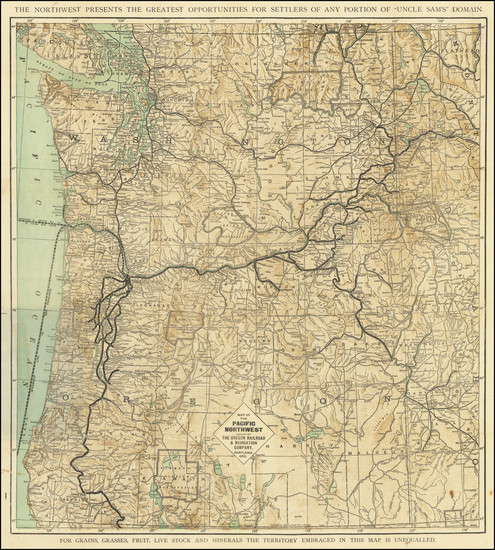 76-Idaho, Oregon and Washington Map By Poole Brothers