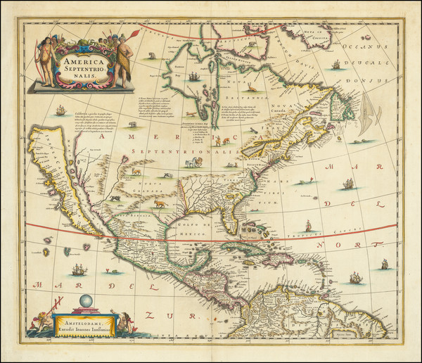 0-North America and California as an Island Map By Henricus Hondius / Jan Jansson