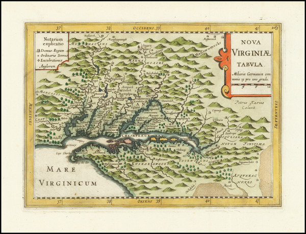 55-Mid-Atlantic, Maryland, Delaware, Southeast and Virginia Map By Johannes Cloppenburg