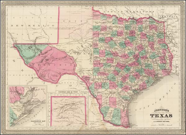 76-Texas Map By Alvin Jewett Johnson