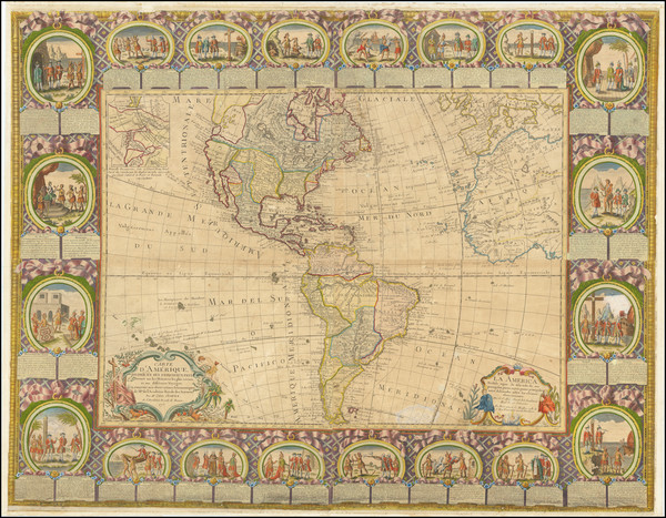 49-Western Hemisphere, North America, South America and America Map By Jean Baptiste Louis Clouet