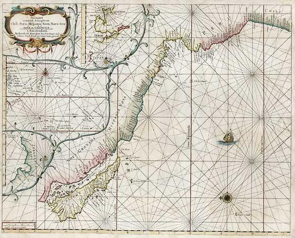 95-South America, Australia & Oceania, New Zealand and California Map By Hendrick Doncker
