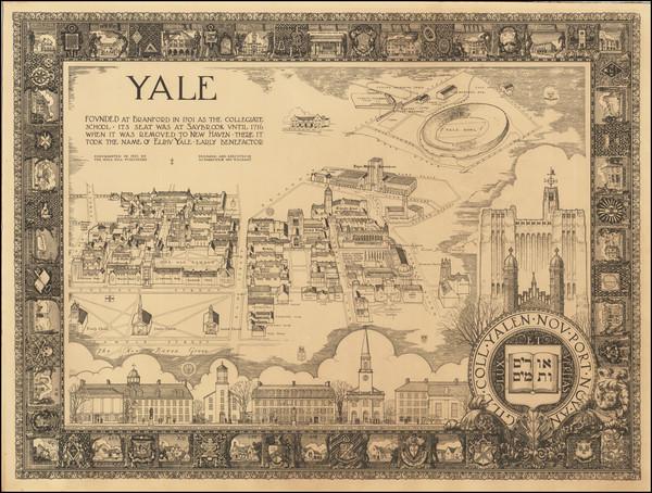 2-Connecticut and Pictorial Maps Map By Allen Cramp Parrette  &  William Barrette Cram
