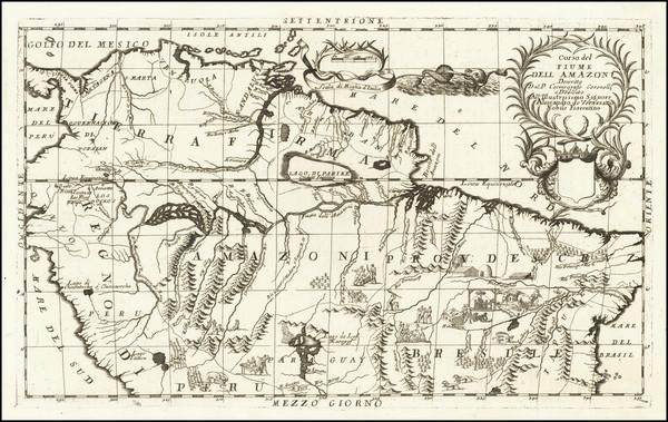 28-Colombia, Brazil, Peru & Ecuador and Venezuela Map By Vincenzo Maria Coronelli