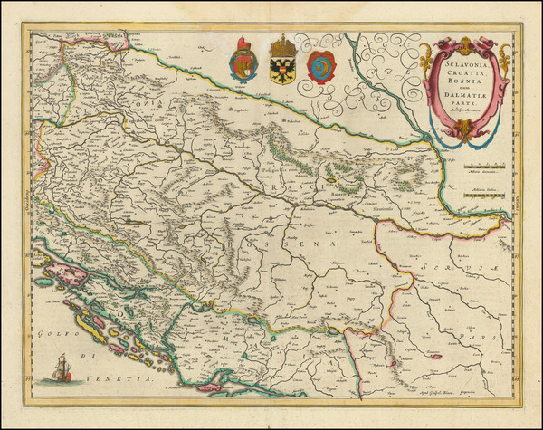 68-Balkans, Croatia & Slovenia, Bosnia & Herzegovina and Serbia Map By Willem Janszoon Bla