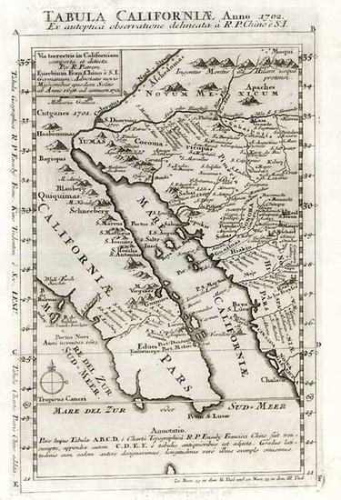 30-Southwest, Mexico, Baja California and California Map By Fr. Eusebio Kino
