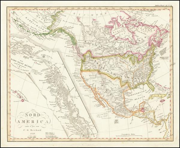80-Alaska, Hawaii, North America and British Columbia Map By Christian Gottlieb Reichard
