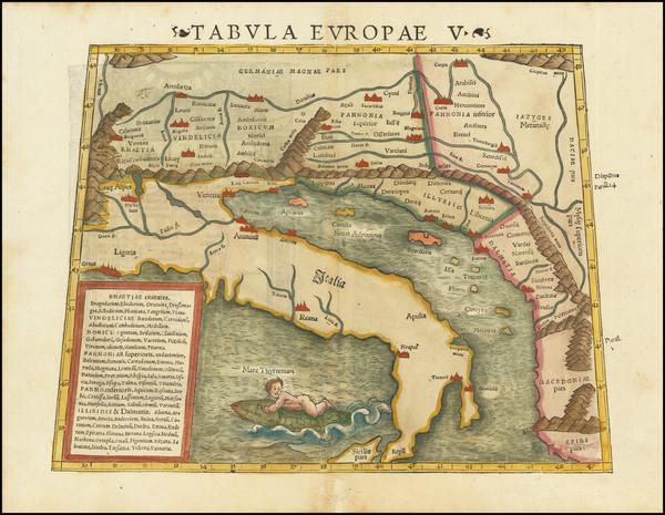 90-Balkans and Italy Map By Sebastian Munster