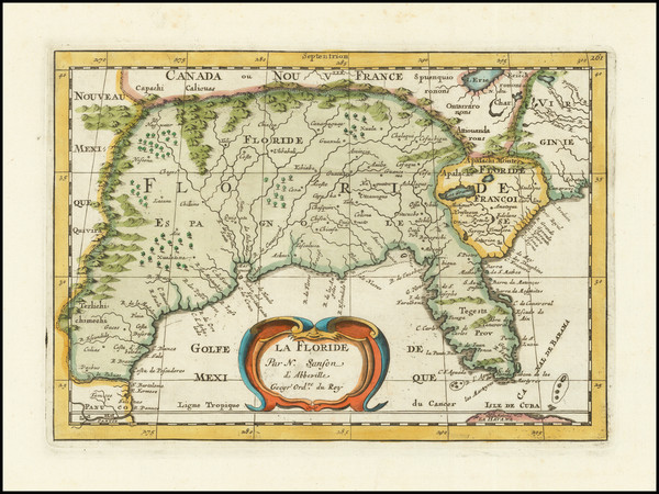 2-Florida, South and Southeast Map By Nicolas Sanson