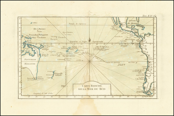 58-Pacific Ocean, Pacific and Australia Map By Jacques Nicolas Bellin