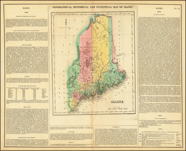 75-Maine Map By Henry Charles Carey  &  Isaac Lea