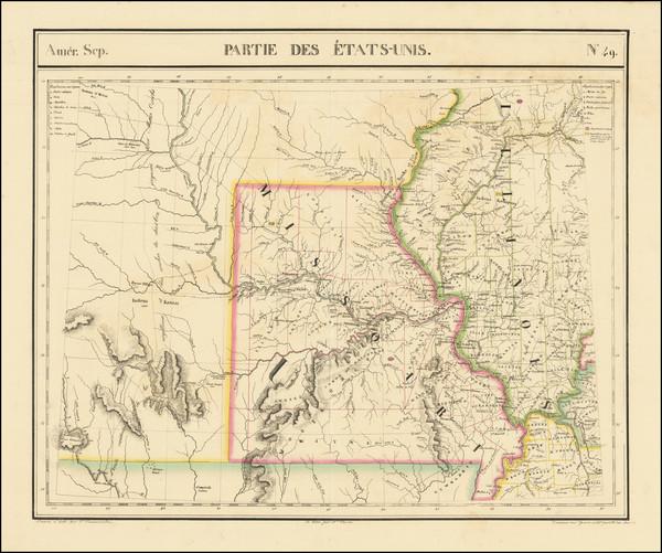 31-Illinois, Iowa, Kansas, Missouri and Nebraska Map By Philippe Marie Vandermaelen
