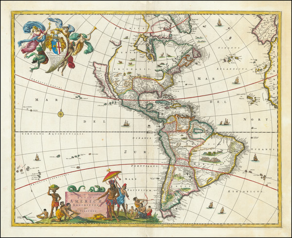 9-California as an Island and America Map By Nicolaes Visscher I