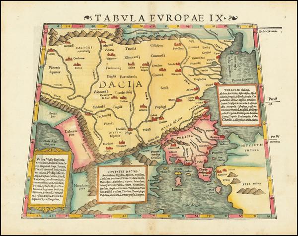 0-Balkans, Turkey, Turkey & Asia Minor, Balearic Islands and Greece Map By Sebastian Munster