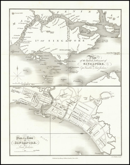 94-Singapore Map By Henry Colburn / J & C Walker