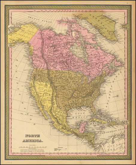 26-North America Map By Samuel Augustus Mitchell