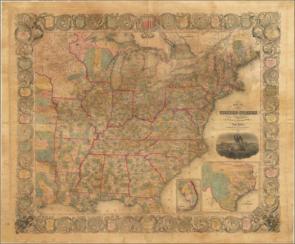 79-United States, Texas, Oregon and Washington Map By Edward Hooker Ensign  &  Timothy Ensign
