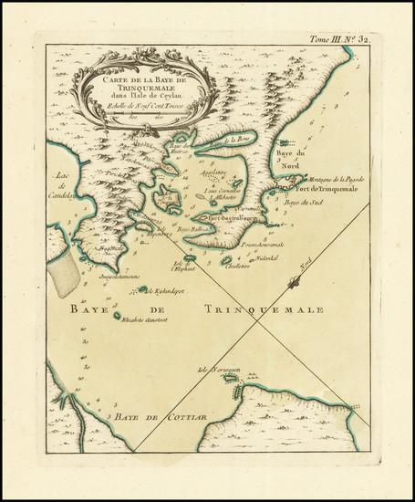 80-Sri Lanka Map By Jacques Nicolas Bellin