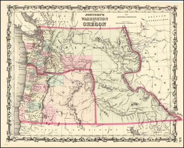 48-Idaho, Pacific Northwest, Oregon and Washington Map By Alvin Jewett Johnson  &  Ross C. Bro