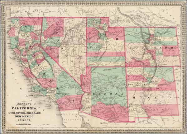 67-Southwest, Arizona, Colorado, Utah, Nevada, New Mexico, Colorado, Utah and California Map By Al