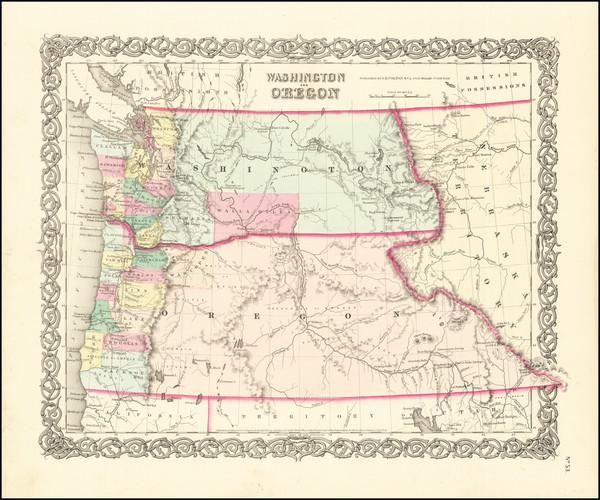 13-Idaho, Oregon and Washington Map By Joseph Hutchins Colton