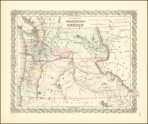52-Idaho, Oregon and Washington Map By Joseph Hutchins Colton