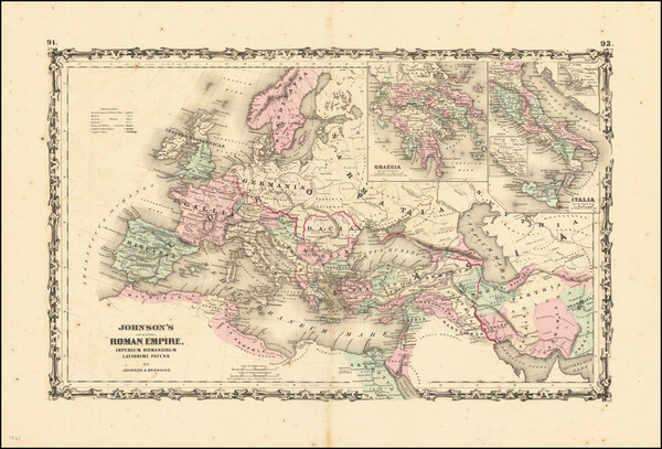 44-Europe, Italy and Mediterranean Map By Alvin Jewett Johnson  &  Ross C. Browning